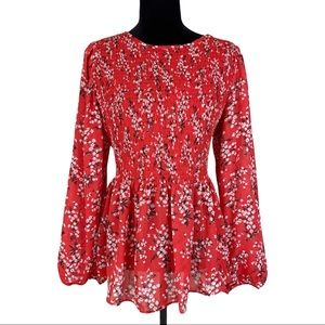 Scoop NYC Vibrant Red Floral Ruched Top